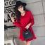 ชุดเดรสแฟชั่น ผ้าโพลีเอสเตอร์ สีแดง (เนื้อผ้าคล้ายชีฟอง แต่หนากว่าชีฟอง) thumbnail 2