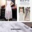 ชุดเดรสยาว แขนกุด ผ้าไหมแก้ว organza สีขาว เนื้อเงา thumbnail 5