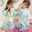ชุดกิโมโน สไตล์ญี่ปุ่น สีฟ้าขอบเหลือง ขนาดฟรีไซส์ thumbnail 1