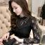 เสื้อสีดำ เสื้อผ้าลูกไม้สีดำแขนยาว ช่วงคอเสื้อไหล่เป็นผ้ามุ้งซีทรู thumbnail 5