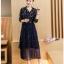 ชุดเดรสแฟชั่น ผ้าโพลีเอสเตอร์พื้นสีน้ำเงิน พิมพ์ลายใบไม้หลากสี แขนยาว thumbnail 1