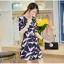 ชุดเดรสสั้น ผ้าซาติน พื้นสีน้ำเงิน ลายนกสีชมพู แขนยาวสามส่วน thumbnail 4