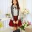 แฟชั่นเกาหลี เสื้อผ้าคอตตอน ทอลายตารางเล็กๆ สีดำขาว แขนยาว หน้าอกเสื้อแต่งด้วยผ้าถักวงกลมสีขาว thumbnail 1