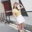 เสื้อผ้าชีฟอง ชนิดเนื้อย่น สีเหลือง ผ้ายืดหยุ่นได้ คอเสื้อและไหล่ เป็นผ้าลูกไม้ปักลายตามแบบ thumbnail 4