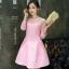ชุดเดรสสวยๆ ตัวเสื้อผ้าถักโครเชต์ลายดอกไม้ สีชมพู แขนยาว thumbnail 1