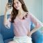 เสื้อผ้าลูกไม้ เนื้อดีเนื้อนิ่มสีชมพู คอวี หน้าอกด้านซ้ายข้างคอเสื้อแต่งด้วยผ้าปักดอกไม้หลากสี thumbnail 3