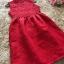 ชุดเดรสสีแดง แขนกุด ตัวเสื้อผ้าถักโครเชต์ลายดอกไม้ คอจีน thumbnail 8