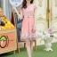 ชุดเดรสออกงานเกาหลี Brand เกาหลี เดรสตัวเสื้อผ้าถักลายดอกไม้ สีชมพูโอรส คอเสื้อประดับมุก กระโปรงผ้าโปร่งปักดิ้นลายดอกไม้ thumbnail 4