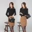 เสื้อทำงาน เสื้อทำงานเกาหลี ผ้าชีฟอง กระดุมหน้า ปักลายที่ปกเสื้อ ดูดี สีดำ สวยมากๆ (พร้อมส่ง) thumbnail 2