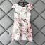 ชุดเดรสน่ารักๆ ผ้าไหมแก้ว organza สีขาว ทอลายเส้นดอกไม้สีชมพู ใบไม้สีเทาครีม thumbnail 7