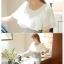 ชุดเดรสน่ารัก ตัวเสื้อผ้าชีฟอง สีขาว แขนเสื้อระบายทรงปีกค้างคาว กระโปรงผ้าคอตตอนผสม thumbnail 3