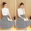 เสื้อผ้าแฟชั่นเกาหลี set เสื้อสีขาว และกระโปรงลายทางขาวดำ thumbnail 5