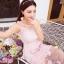 ชุดเดรสยาว ผ้าไหมแก้ว organza สีชมพู ปักด้วยด้ายสีขาวครีม เดินเส้นด้ายทั้งชุด thumbnail 5