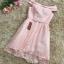 ชุดราตรีสั้น ออกงานสุดหรู ตัวชุดเป็นผ้าลูกไม้ลายตามแบบสีชมพู ดีไซน์เปิดไหล่ ปิดต้นแขน thumbnail 5