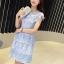 ชุดเดรสสวยๆ ผ้าลูกไม้ สีฟ้า เย็บทอผสมกับผ้าถักโครเชต์ที่ช่วงไหล่ thumbnail 2