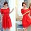 ชุดเดรสสั้น แฟชั่นเกาหลี ผ้าซาติน สีแดง thumbnail 5