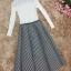 เสื้อผ้าแฟชั่นเกาหลี set เสื้อสีขาว และกระโปรงลายทางขาวดำ thumbnail 10