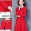 ชุดเดรสสีแดง ผ้าคอตตอนผสม เนื้อดี แขนยาวห้าส่วน thumbnail 6