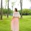 แมกซี่เดรสยาว ผ้าชีฟองเนื้อดี สีชมพูโอรส thumbnail 6