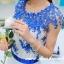 ชุดเดรสยาว แมกซี่เดรสสุดสวย ตัวเสื้อผ้าปักลายดอกไม้ สีน้ำเงิน แต่งผ้าถักโครเชต์ช่วงไหล่ สวยมากๆ ครับ thumbnail 6