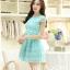 ชุดเดรสเกาหลี ตัวเสื้อผ้าถักลายดอกไม้ สีเขียว กระโปรงผ้าไหมแก้ว ปักด้วยด้ายลายดอกไม้ thumbnail 3