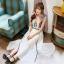 ชุดเดรสยาว Yi Qing โบฮีเมียนเดรส ผ้าชีฟอง ตัวเสื้อพิมพ์ลายกราฟฟิกสีสดใส กระโปรงสีขาว แต่งเส้นหยักสีดำสวยมากๆ thumbnail 5