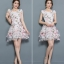 ชุดเดรสน่ารักๆ ผ้าไหมแก้ว organza สีขาว ทอลายเส้นดอกไม้สีชมพู ใบไม้สีเทาครีม thumbnail 6
