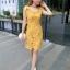 ชุดเดรสสวยๆ ผ้าถักรูปดอกไม้ สีเหลืองมัสตาร์ต เดรสทรงตรง เข้ารูปช่วงเอว thumbnail 7