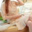 ชุดเดรสสวยๆ ผ้ามุ้งเนื้อละเอียดสีทอง ปักด้วยด้ายลายตามแบบ แขนยาว 3 ส่วน thumbnail 9