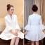 ชุดเดรสสวยๆ ผ้าคอตตอนทอ สีขาว แขนยาวห้าส่วน แขนเสื้อเก๋ ทรงกระดิ่ง thumbnail 4