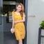 ชุดเดรสสวยๆ ผ้าถักรูปดอกไม้ สีเหลืองมัสตาร์ต เดรสทรงตรง เข้ารูปช่วงเอว thumbnail 6