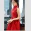 ชุดเดรสสีแดง แขนกุด ตัวเสื้อผ้าถักโครเชต์ลายดอกไม้ คอจีน thumbnail 2