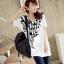 เสื้อยืดเกาหลี ตัวยาว ลาย ตัวโน้ต II สีขาว thumbnail 1