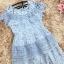 ชุดเดรสสวยๆ ผ้าลูกไม้ สีฟ้า เย็บทอผสมกับผ้าถักโครเชต์ที่ช่วงไหล่ thumbnail 11