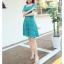ชุดเดรสลูกไม้ ใส่ออกงานผ้าเนื้อดี เนื้อเงาสวยมากๆ สีเขียวมรกต คอเสื้อทรงสี่เหลี่ยม thumbnail 7