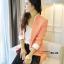 เสื้อสูทเกาหลี Rui Ri เสื้อสูทผ้าคอตตอนผสม เนื้อดีสีชมพู ปกเสื้อ และปลายแขนเสื้อเย็บผสมกับผ้าสีขาว พร้อมส่ง thumbnail 3