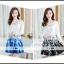 ชุดเดรสเกาหลีออกงาน ตัวเสื้อผ้าถักสีขาว แขนยาว กระโปรงผ้าชีฟองสีดำ พร้อมสร้อยคอ thumbnail 12