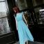 ชุดเดรสยาว ผ้าชีฟองเนื้อดี สี Ocean blue อัดพลีตเล็กๆ thumbnail 6