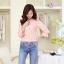 เสื้อผ้าคอตตอนผสม เนื้อนุ่มมาก สีชมพู ตัวเนื้อผ้าเป็นลายดอกไม้ แขนยาวสี่ส่วน thumbnail 3