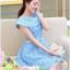 ชุดเดรส ชุดเดรสเจ้าหญิง แสนหวาน ตัวชุดผ้าลูกไม้สีฟ้า คอเสื้อเสื้อหยัก แต่งผ้าถ่วงคลุมไหล่และแขน สวยมากๆ thumbnail 8