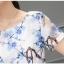 ชุดเดรสผ้าไหม เนื้อบาง พื้นสีขาว มีลายเส้นในตัว พิมพ์ลายดอกไม้โทนสีฟ้า thumbnail 10