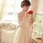 ชุดเดรสลูกไม้ แขนยาว Princess style สีครีม คอปักมุกสีขาว พร้อมเข็มกลัดรูปผู้หญิงติดที่คอเสื้อ thumbnail 6