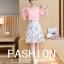 ชุดเดรสน่ารักๆ เดรสตัวเสื้อผ้าชีฟองเนื้อดีสีชมพูโอรส เย็บลอยออกมาจากตัวชุด thumbnail 2