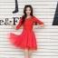 ชุดเดรสแฟชั่น สีแดง ผ้าลูกไม้อย่างดี หน้าอกเสื้อแต่งด้วยผ้าลายดอกไม้ ประดับด้วยมุก สีแดง thumbnail 5