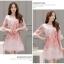 ชุดเดรสผ้าไหมแก้ว organza สีชมพู ลายกลีบดอกกุหลาบ สีชมพูแดง thumbnail 3