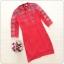 ชุดเดรสสีแดง ผ้าโพลีเอสเตอร์ ทรงตรง เข้ารูปช่วงเอว thumbnail 5