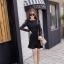 ชุดเดรสสั้นสีดำ ชุดสีดำ แขนยาว ตัวเสื้อเป็นผ้าทำเป็นรูปดอกกุหลาบ แขนเสื้อผ้าลูกไม้สีดำ thumbnail 7