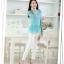 แฟชั่นเกาหลีราคาถูก เสื้อตัวยาว ผ้าลูกไม้ สีฟ้าอมเขียว ชายเสื้อ ฉลุลายดอกไม้ แขนยาว thumbnail 4