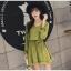 ชุดเดรสแฟชั่น ผ้าโพลีเอสเตอร์ สีเขียว (เนื้อผ้าคล้ายชีฟอง แต่หนากว่าชีฟอง) thumbnail 7