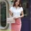 เสื้อทำงาน แฟชั่นเกาหลี สีขาว คอวีประดับมุดเงิน แขนระบาย กระดุมผ่าหน้า เสื้อผ้าสาวทำงาน ราคาถูก สวยมากๆครับ (พร้อมส่ง) thumbnail 2